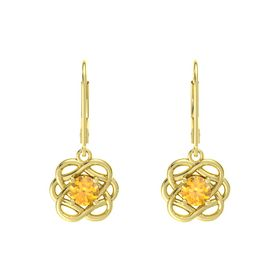 Round Citrine 18K Yellow Gold Earrings