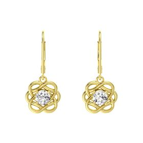 Round White Sapphire 18K Yellow Gold Earrings