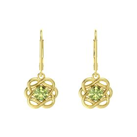 Round Peridot 18K Yellow Gold Earrings