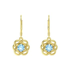 Round Blue Topaz 18K Yellow Gold Earrings
