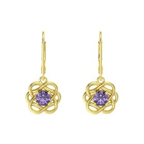 Round Iolite 18K Yellow Gold Earrings