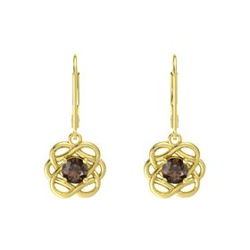 Round Smoky Quartz 18K Yellow Gold Earrings