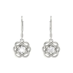 Round Rock Crystal Platinum Earrings