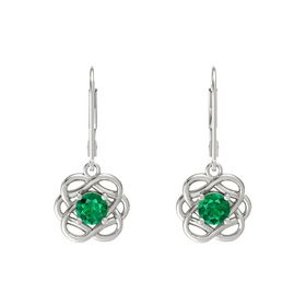 Round Emerald Platinum Earrings