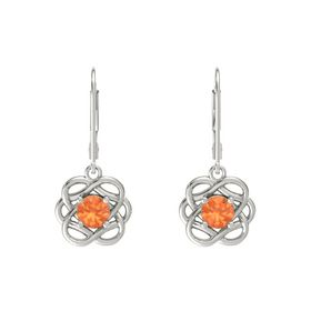 Round Fire Opal Platinum Earrings