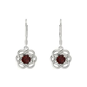 Round Red Garnet Platinum Earrings