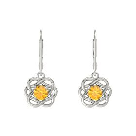 Round Citrine Platinum Earrings