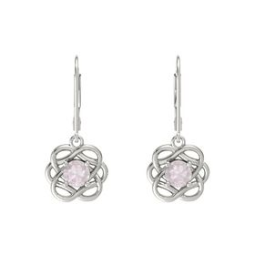 Round Rose Quartz Platinum Earrings