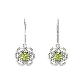 Round Peridot Platinum Earrings