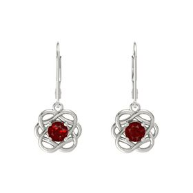 Round Ruby Platinum Earrings