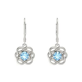 Round Blue Topaz Platinum Earrings