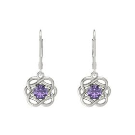 Round Iolite Platinum Earrings