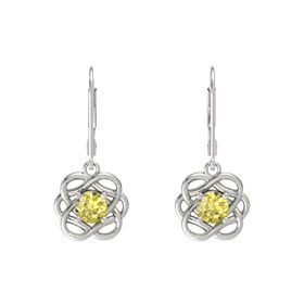 Round Yellow Sapphire Platinum Earrings