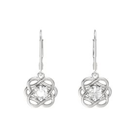 Round Rock Crystal Sterling Silver Earrings