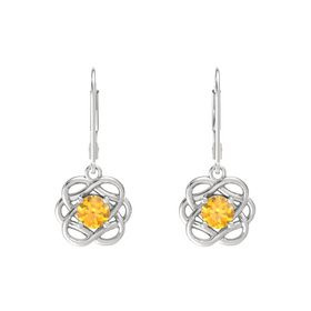 Round Citrine Sterling Silver Earrings