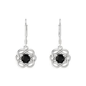 Round Black Onyx Sterling Silver Earrings