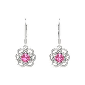 Round Pink Tourmaline Sterling Silver Earrings