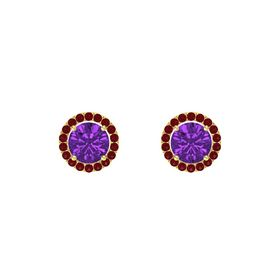 Round Amethyst 14K Yellow Gold Earring with Ruby
