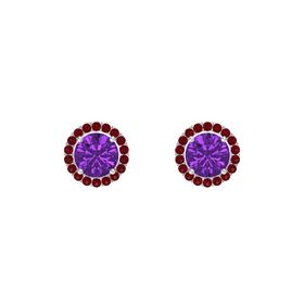 Round Amethyst Sterling Silver Earring with Ruby