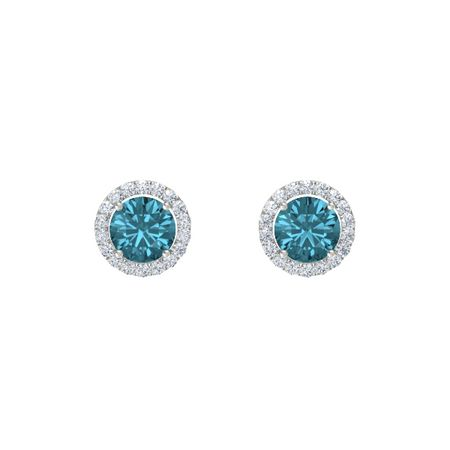Round Cut Halo Earrings 7mm Gems