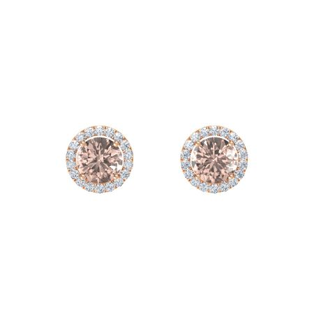 Round-Cut Halo Earrings (7mm gems)