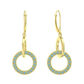 14K Yellow Gold Earrings with London Blue Topaz