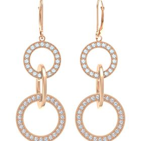 14K Rose Gold Earrings with Diamond & Aquamarine