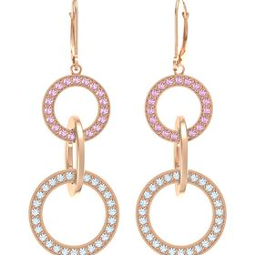 14K Rose Gold Earring with Aquamarine and Pink Sapphire
