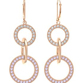 14K Rose Gold Earrings with Tanzanite & Diamond
