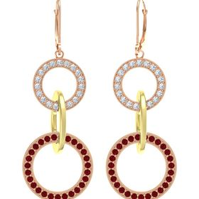 14K Rose Gold Earring with Ruby and Diamond