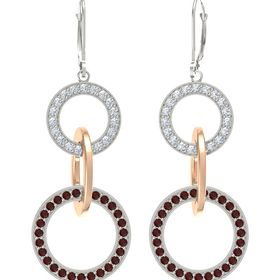 14K White Gold Earring with Red Garnet and Diamond
