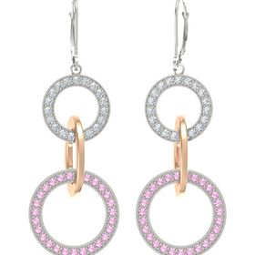 14K White Gold Earring with Pink Tourmaline and Diamond