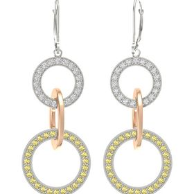 14K White Gold Earring with Yellow Sapphire and White Sapphire