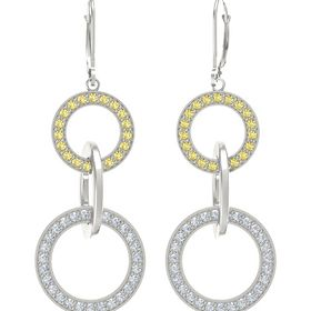 14K White Gold Earrings with Diamond & Yellow Sapphire