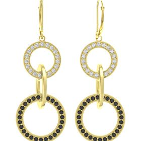 14K Yellow Gold Earring with Black Diamond and White Sapphire