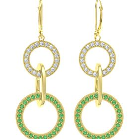 14K Yellow Gold Earrings with Emerald & Diamond