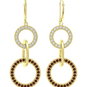 14K Yellow Gold Earrings with Red Garnet & Diamond