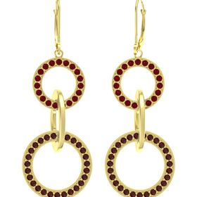 14K Yellow Gold Earring with Red Garnet and Ruby