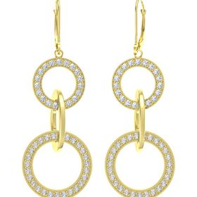 14K Yellow Gold Earrings with White Sapphire & Diamond