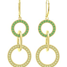 14K Yellow Gold Earring with Peridot and Emerald