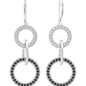 Sterling Silver Earrings with Black Diamond & Diamond