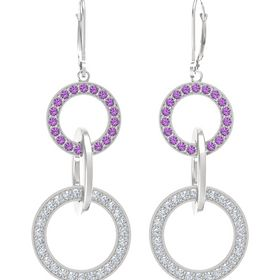 Sterling Silver Earrings with Diamond & Amethyst