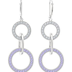 Sterling Silver Earrings with Iolite & Diamond