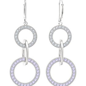 Sterling Silver Earrings with Tanzanite & Diamond