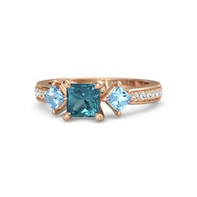 Princess London Blue Topaz 14K Rose Gold Ring with Blue Topaz and White Sapphire