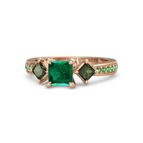 Princess Emerald 14K Rose Gold Ring with Green Tourmaline and Emerald