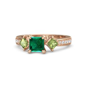 Princess Emerald 14K Rose Gold Ring with Peridot and White Sapphire