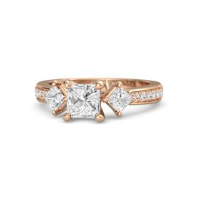 Princess White Sapphire 14K Rose Gold Ring with White Sapphire