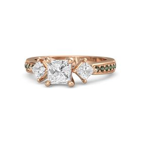 Princess White Sapphire 14K Rose Gold Ring with White Sapphire and Green Tourmaline