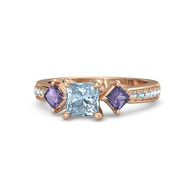 Princess Aquamarine 14K Rose Gold Ring with Iolite and Aquamarine
